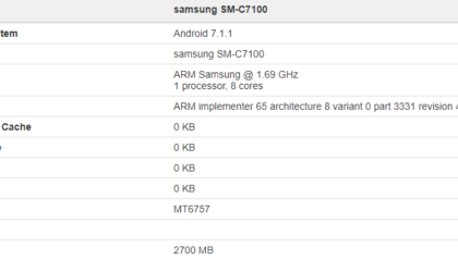 Galaxy C7 2017 revealed at Geekbench, powered by 3GB RAM and MT6757 chipset