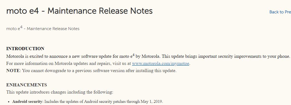 Moto E4 May patch