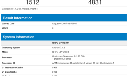 Oppo R11 with Snapdragon 835, 6GB RAM, and Android 7.1.2 shows up on Geekbench