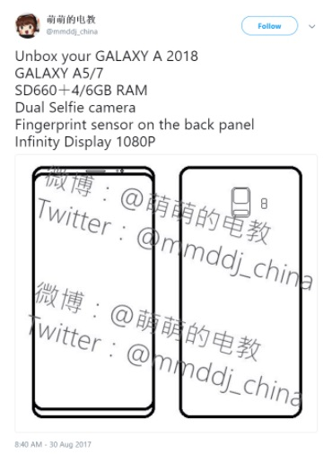 Samsung Galaxy A5, A7 2018 specs leak: Snapdragon 660, 4/6GB RAM, dual selfie camera and Full HD infinity display