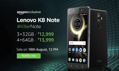 Lenovo K8 Note launched in India for INR 12,999, features dual camera