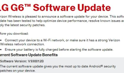 Verizon LG G6 and G5 are getting new update today (VS98812B and VS98729A)