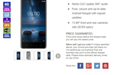 Nokia 8 up for pre-order in Australia; priced at AUD 899
