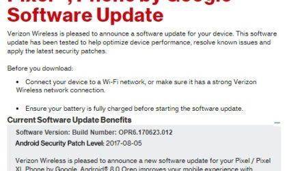 Verizon Pixel and Pixel XL receive Android Oreo OTA today