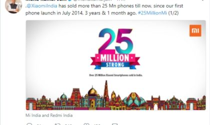 Xiaomi sold 25 million smartphones in India in the past 3 years