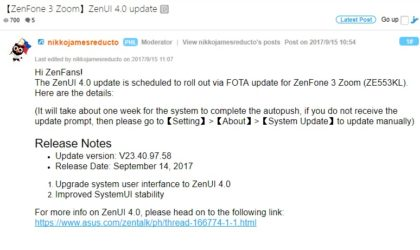 Asus ZenFone 3 Zoom update rolling out with ZenUI 4.0, other ZenFone 3 devices to get it soon