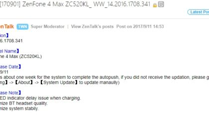 Asus ZenFone 4 Max update gets improved Bluetooth sound quality and more