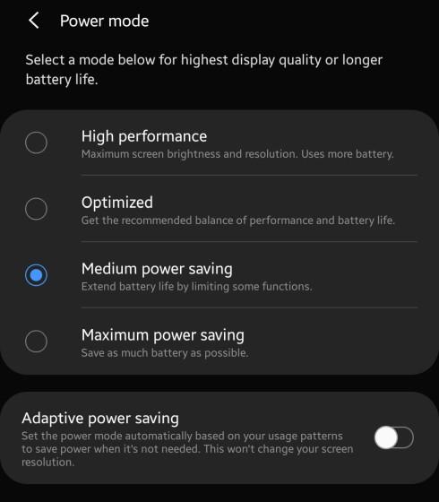Galaxy Note 8 adaptive power saving feature