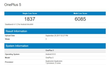 OnePlus 5 running Oreo update spotted on Geekbench
