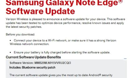 Verizon rolls out Blueborne security patch for Galaxy Note Edge, while Moto Z2 gets September patch