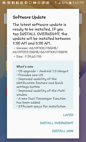 Galaxy On Nxt receives Android 7.0 Nougat update as an OTA in India