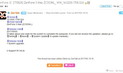 Asus ZenFone 3 Max update rolling out with VoLTE support in India