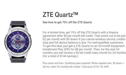 ZTE Quartz Deal: Get the smartwatch for just $48 over a 24 month contract from T-Mobile