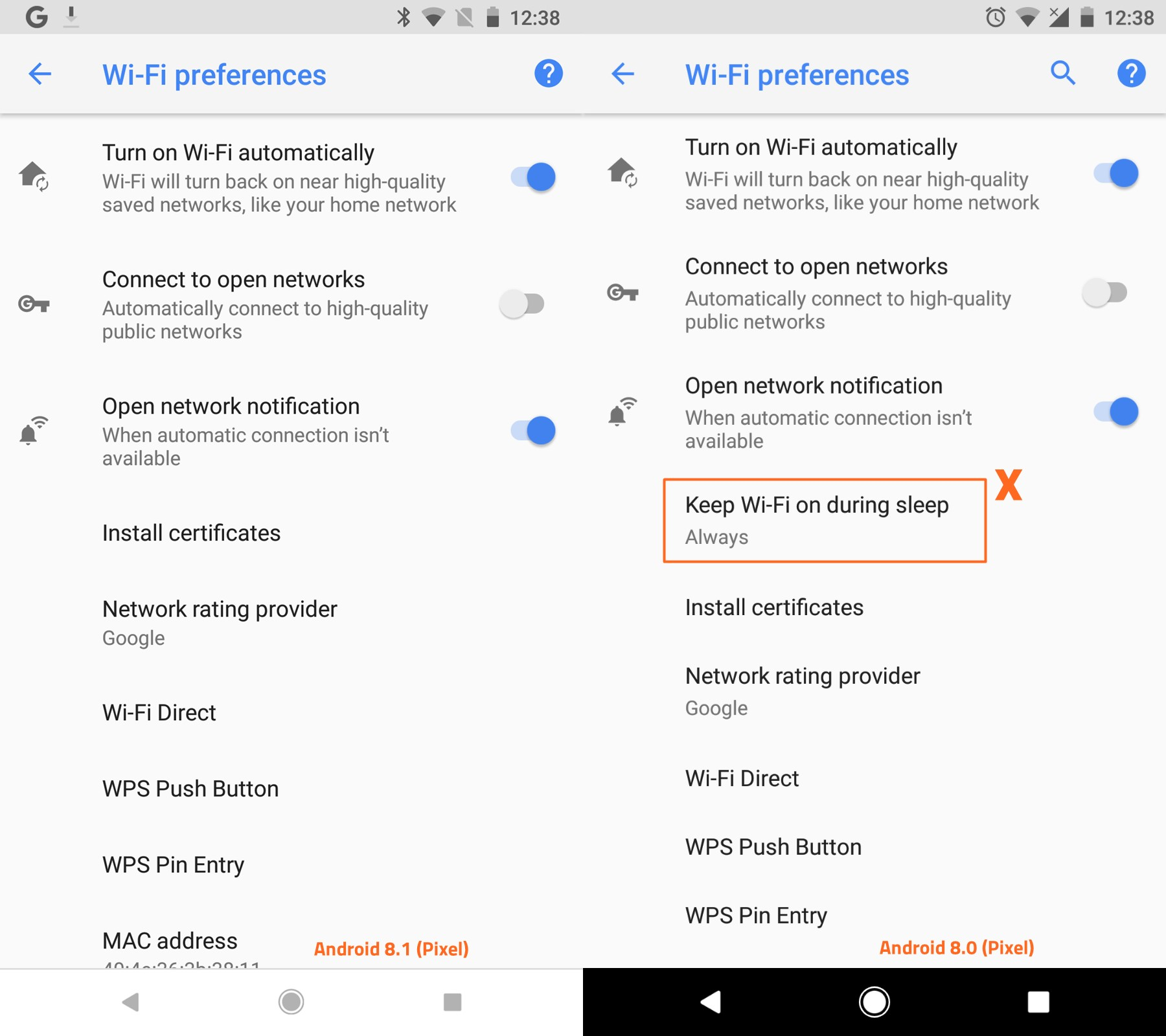 Android 8.1 new WiFi settings