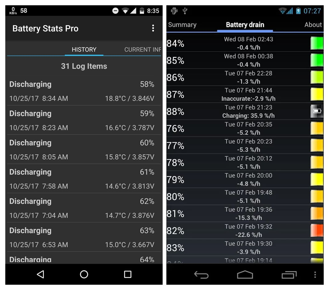Android battery capacity information