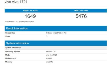 Vivo X20 benchmarks [Geekbench]