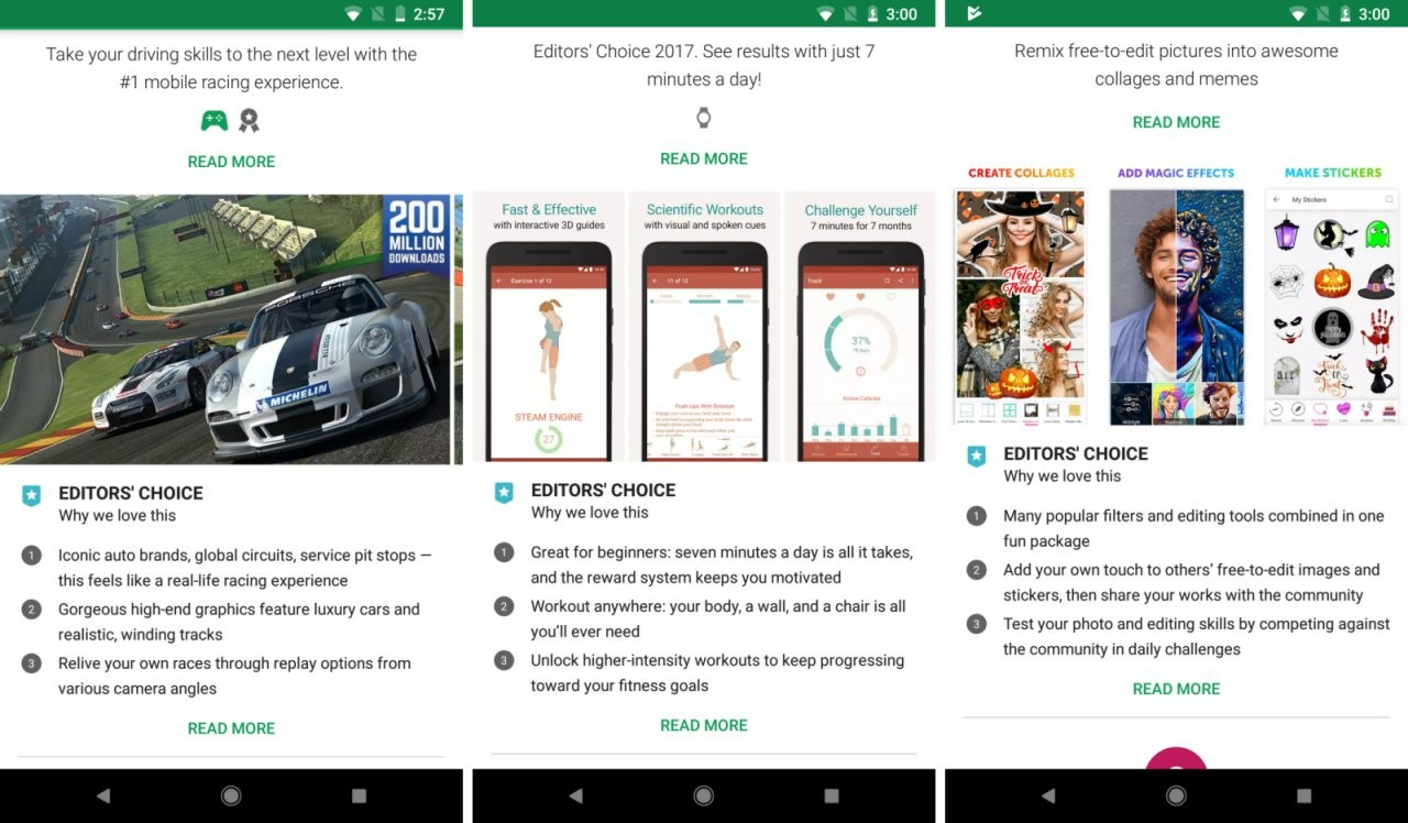 Editors\' Choice highlights now show directly under app listings on ...