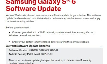 Verizon rolling out October security patch for Galaxy S6 and S6 Edge