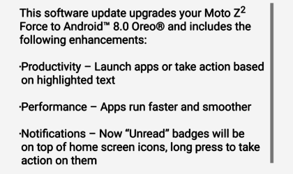 Verizon rolling out Moto Z2 Force Oreo update
