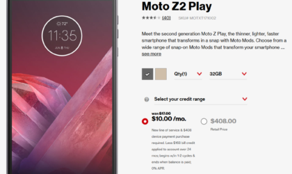 Verizon Moto Z2 Play Deal: $168 off, available for $10/month