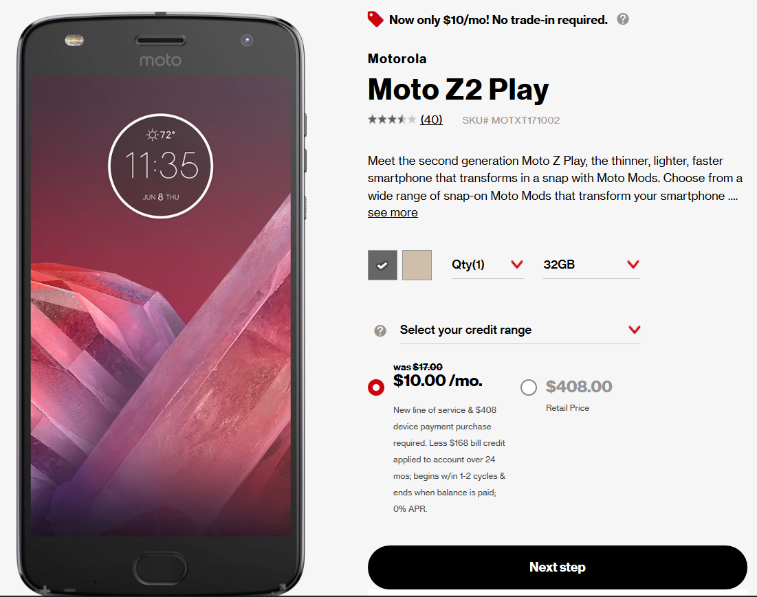 moto z2 play verizon offer