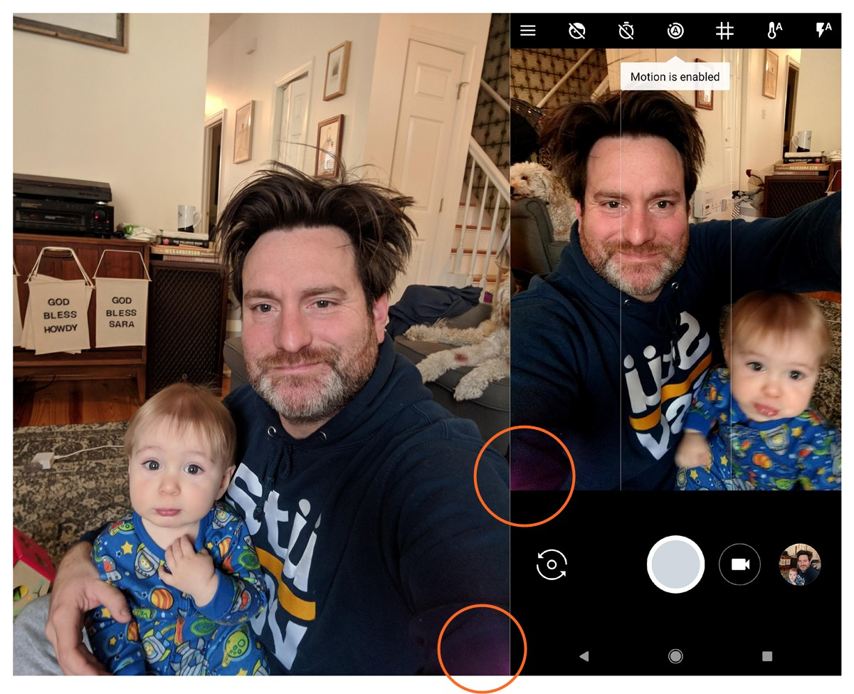 Google Pixel 2 front cam throwing in purple lens flare for