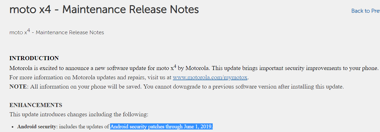 Moto X4 update: June 2019 security patch release notes are