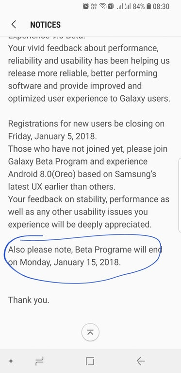 Samsung Oreo update for Galaxy S8 to release on or after Jan 15