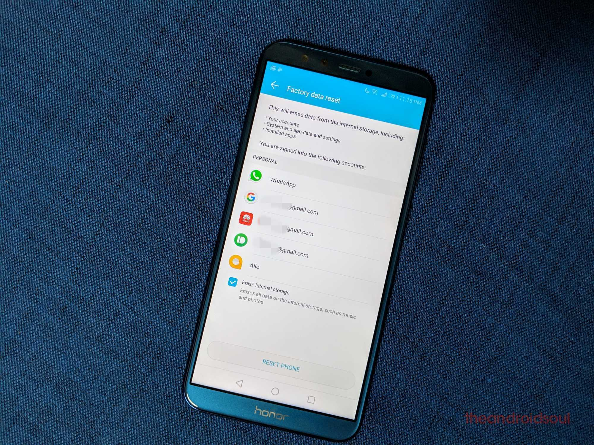 How to reset the Honor 9 Lite