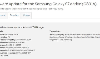 Latest update for the AT&T Galaxy S7 Active comes with KRACK Fix and December patch