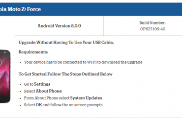 Moto Z2 Force Oreo update