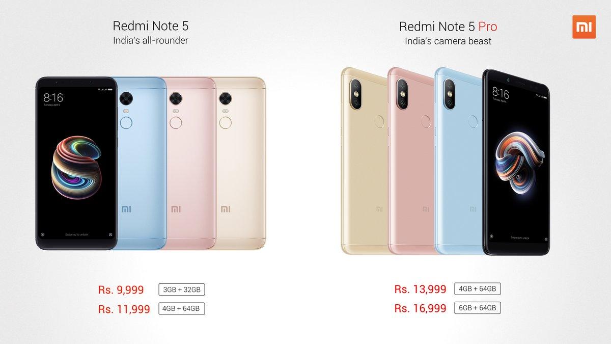 Xiaomi Redmi Note 5 and Note 5 Pro