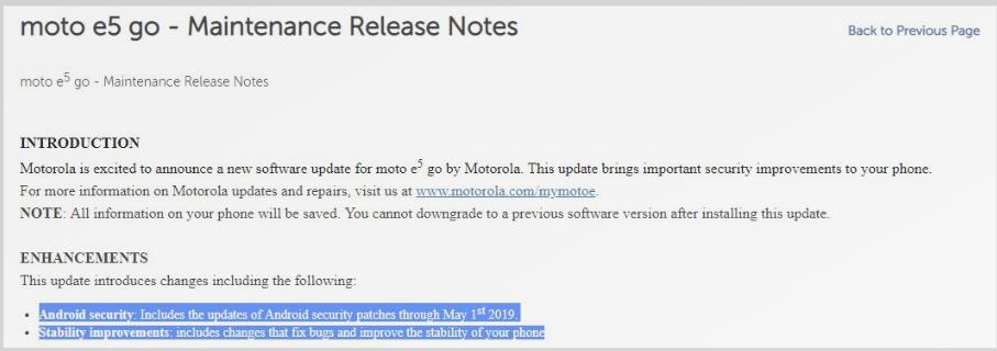 Motorola Moto E5 Play update: June security patch announced!