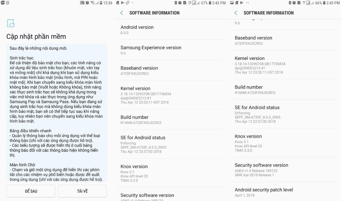 Galaxy A7 2017 Oreo update