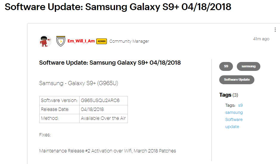 Galaxy S9 Plus Sprint update