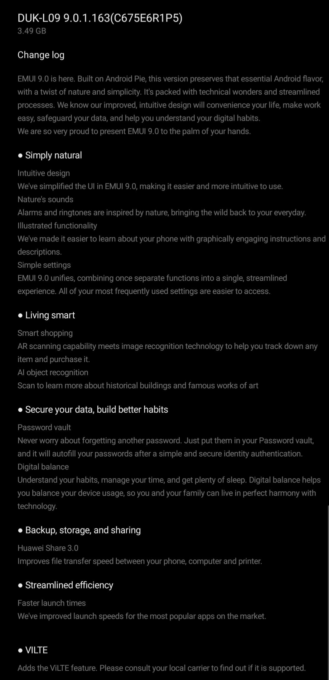 Honor 8 Pro Pie update changelog