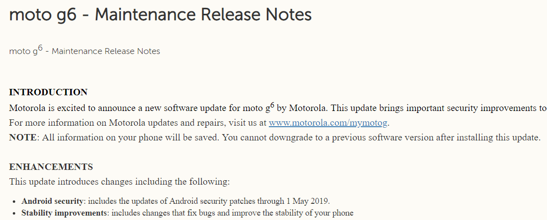 Moto G6 May patch