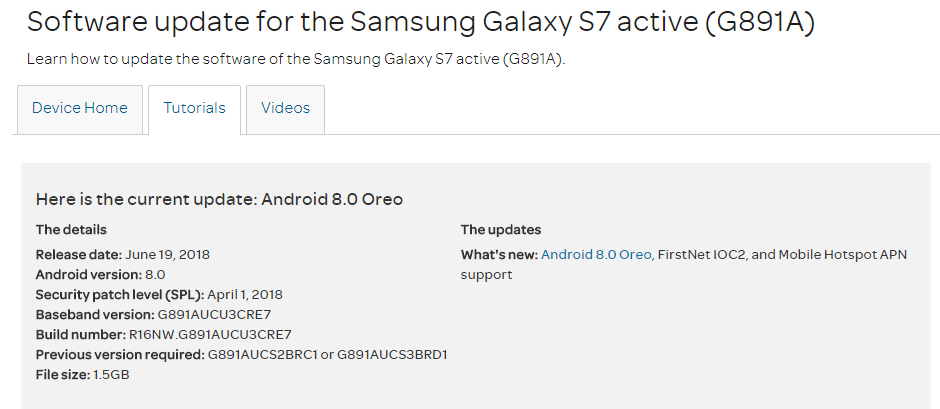 AT&T Galaxy S7 Active gets the Android 8 0 Oreo OTA rolling out