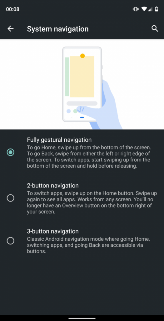 Android Q Fully gestural navigation