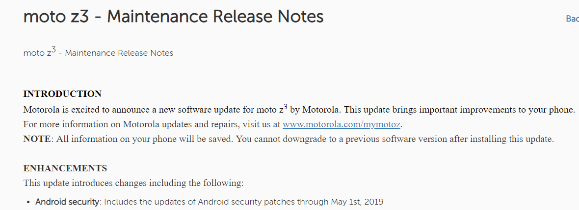Moto Z3 May patch