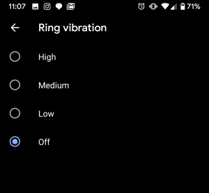 Vibration intensity options in Android Q