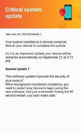 Verizon Moto Z3 September update