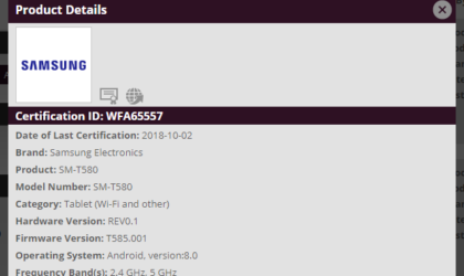 Samsung Galaxy Tab A 2016 to get Android Oreo update soon, clears Wi-Fi Alliance