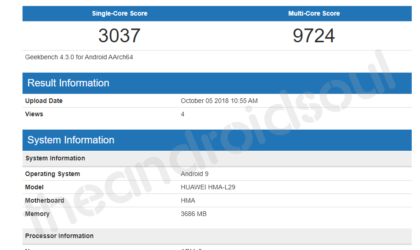 Huawei Mate 20 appears at Geekbench too