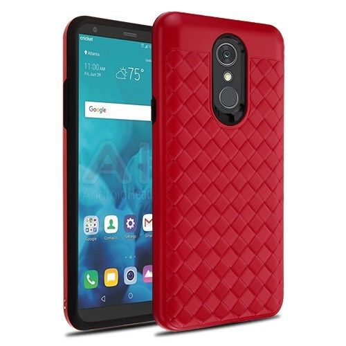 LG-Stylo-4-Red-Large-Woven-Grain-Black-Hybrid-Case-Cover