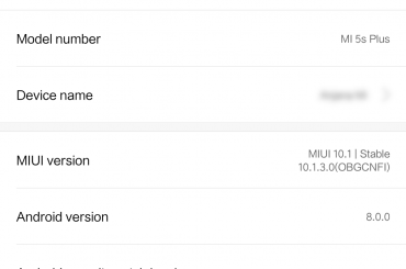 MIUI 10 update Mi 5S Plus