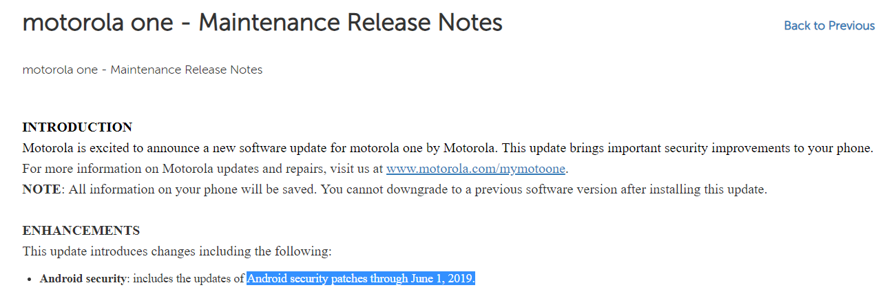 Moto One June 2019 patch