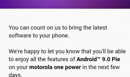 [Update: Now available, including Moto One] Moto One Power Android 9 Pie update begins in a few days