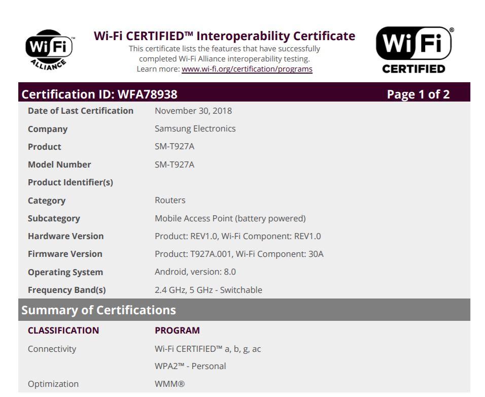 Samsung Galaxy View 2 Wi-Fi Alliance