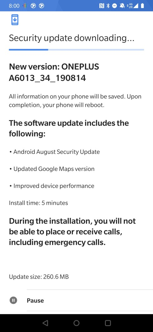 T-Mobile OnePlus 6T August update